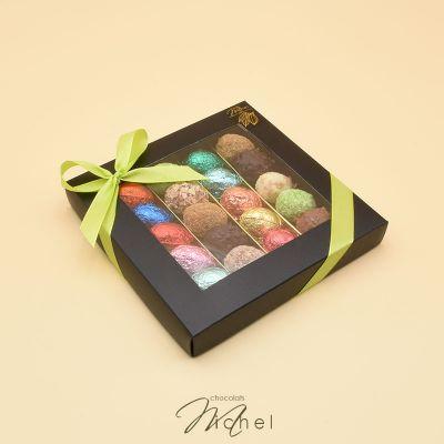 Boite ébène 4 rangées chocolats-assortis - 240g