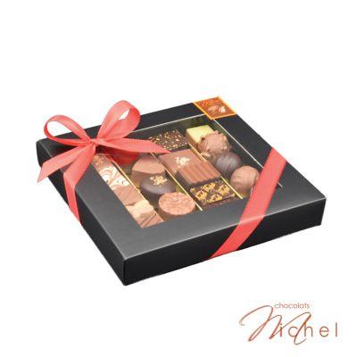 Boîte ébène 4 rangées chocolats-assortis - 225g